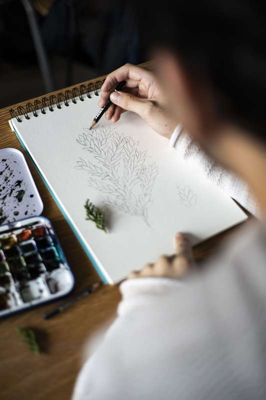 Alumno dibujando una hoja de árbol nativo